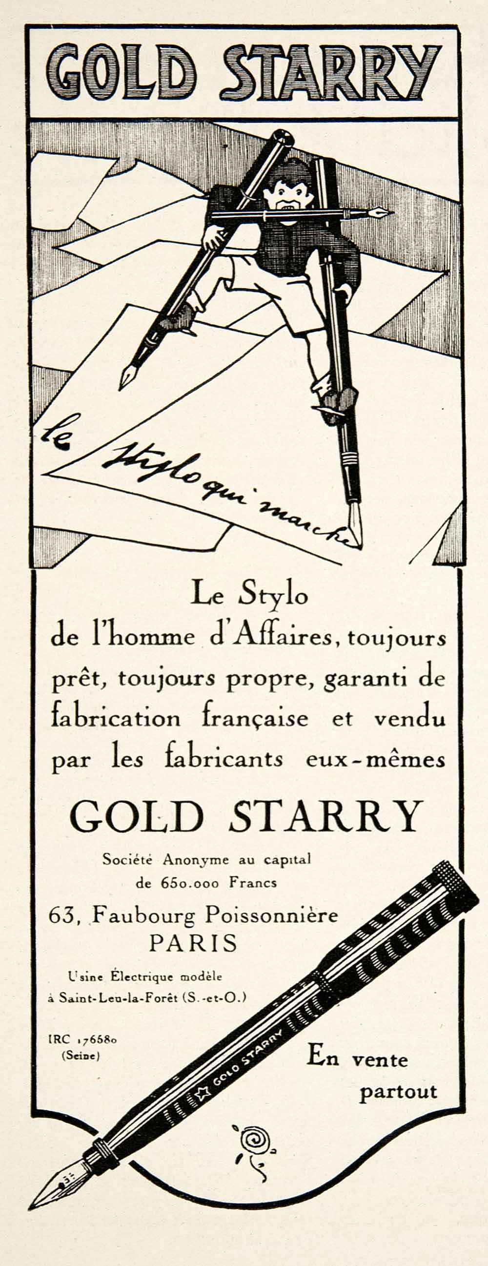 1924 Ad Gold Starry Pen Silts 63 Faubourg Poissonniere French Writing VEN3