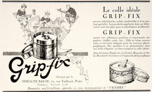 1924 Ad Grip-Fix Sacie 52 Rue Taitbout Paris Glue Adhesive Paste Stationary VEN3