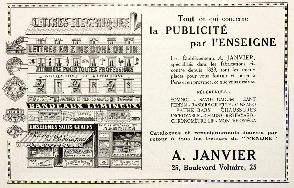 1924 Ad Janvier Electric Sign Advertising French Lettering