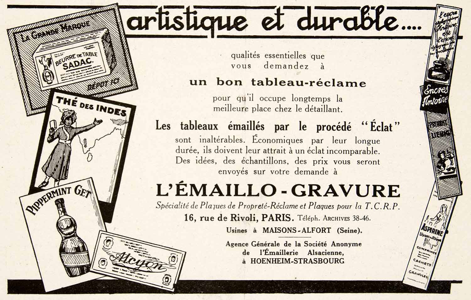 1924 Ad L'Emaillo-Gravure French Advertising Signs Sadac Alcyon 16 Rue VEN3