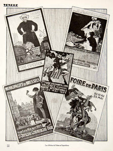 1924 Prints Fairs Exposition Poster Art French Angers Brussels Valence VEN3