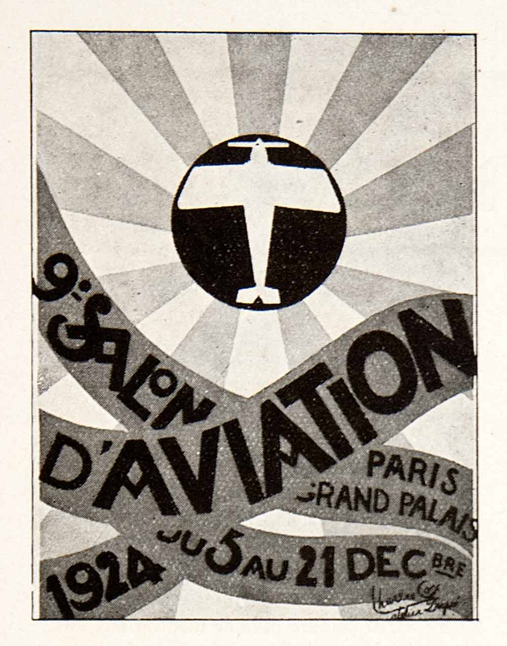 1925 Print Salon D'Aviation Grand Palais Paris Plane Trade Show Aeronautics VEN3