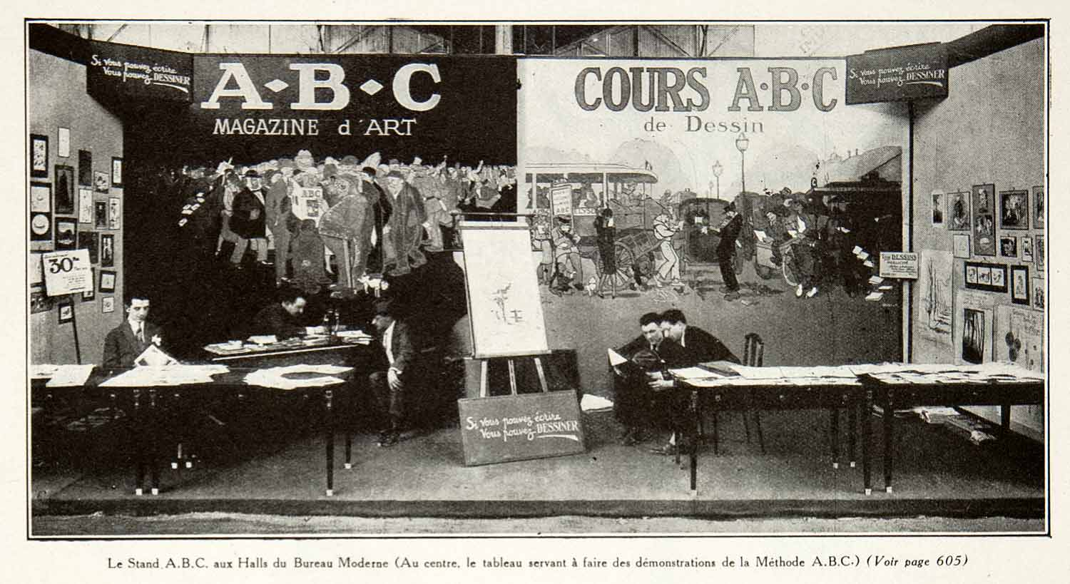 Print foire paris fair booth abc drawing scene stand france