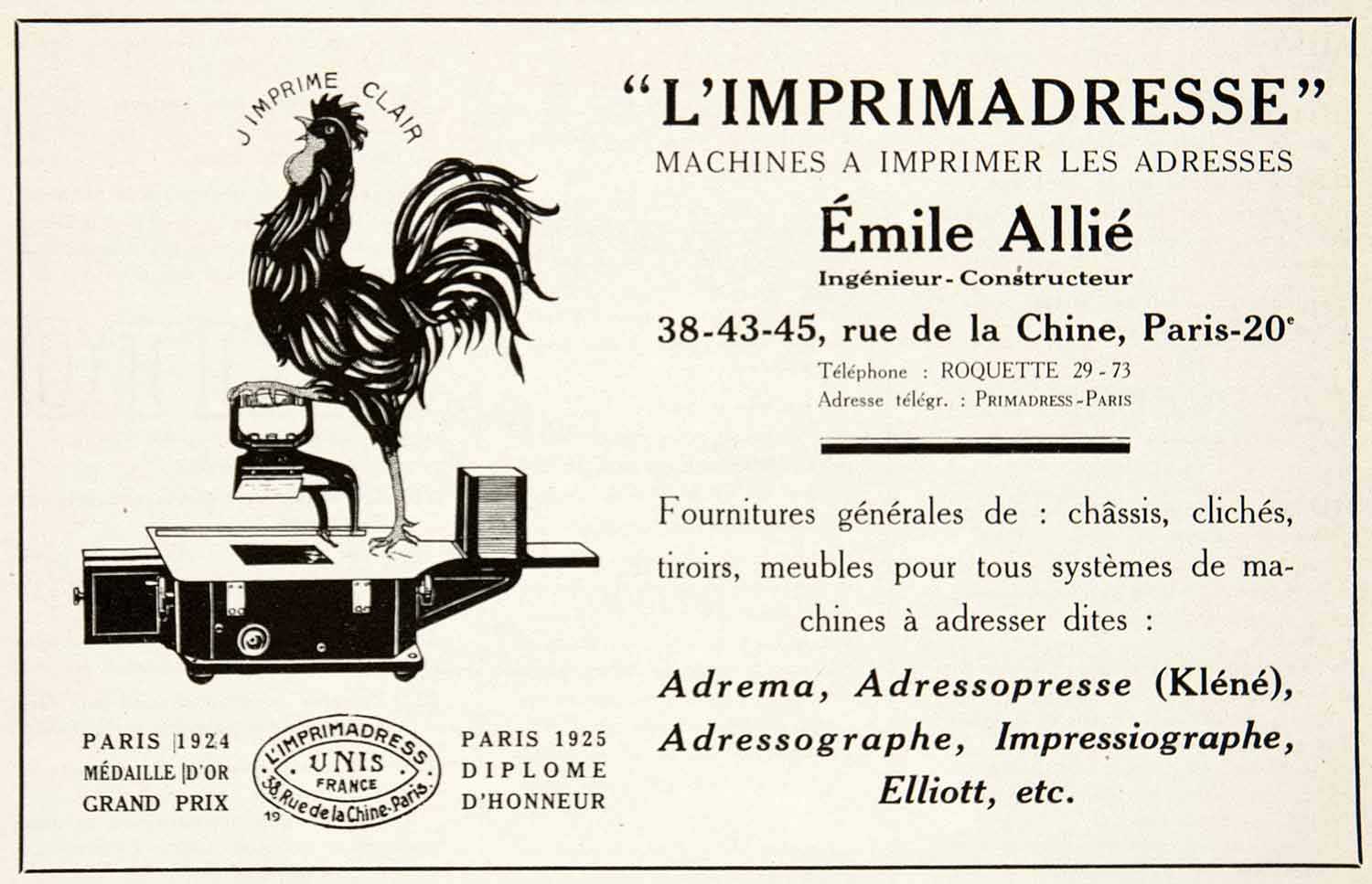 1925 Ad Imprimadresse Emile Allie Furniture Unis France 38 Rue Chine Adrema VEN4