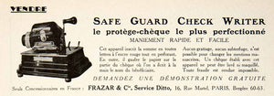 1925 Ad Safe Guard Check Writie Frazar Anti-Fraud 16 Rue Martel Paris VEN4