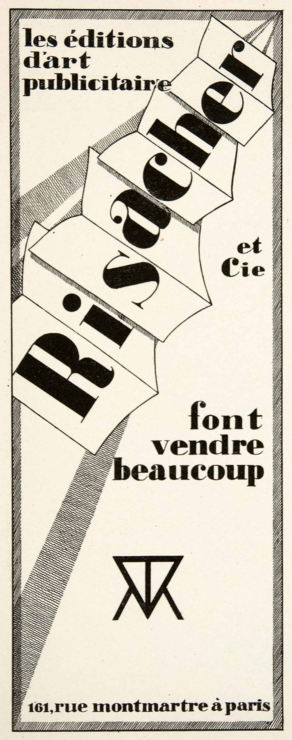 1926 Ad Risacher Advertising Agency Graphic Designers 16 Rue Montmartre VEN4