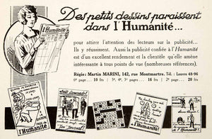 1926 Ad Humanite Newspaper Publication 142 Rue Montmartre Paris Martin VEN4