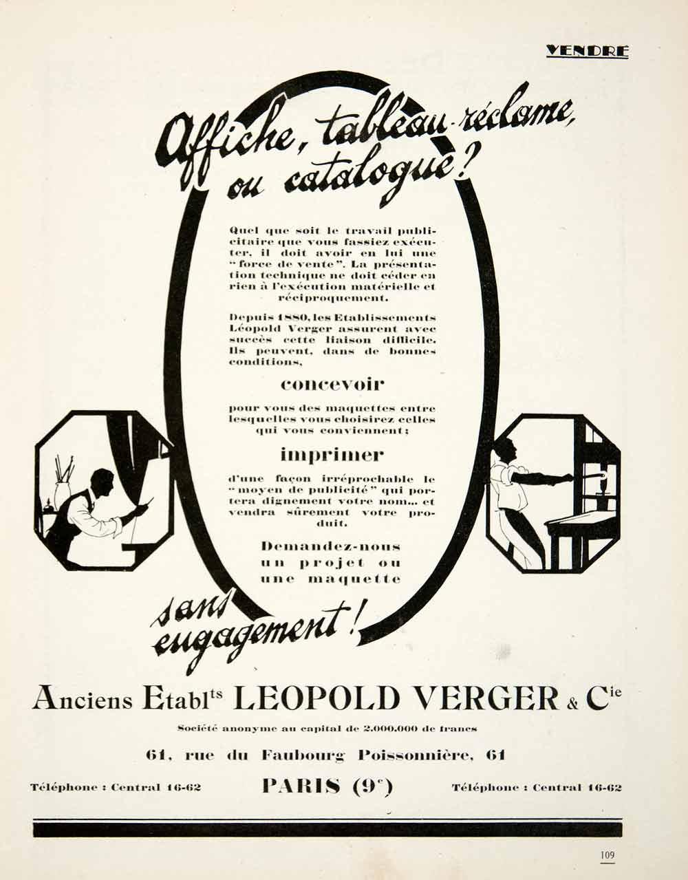 1926 Ad Leopold Verger 61 Rue Faubourg Poissonniere Paris Advertising VEN4