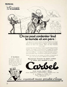 1926 Ad Carbel Typewriter Ribbon Carbon Paper 8 Rue Maillard Paris VEN4