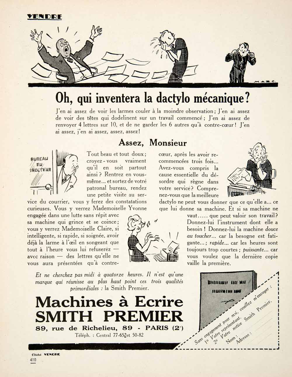 1926 Ad Smith Premier Typewriters 89 Rue Richelieu Paris Secretary Office VEN4