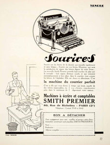 1926 Ad Smith Premier 89 Rue Richelieu Paris Typewriter No 60 Office VEN4