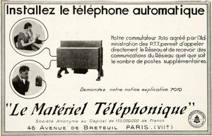 1928 Ad Vintage French Telephone Automatique Automatic Phone Bell System VEN5