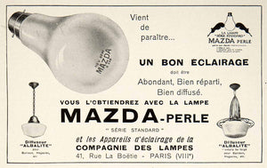 1928 Ad Vintage French Mazda Perle Light Bulb Lamp Lighting Fixture Lampes VEN5