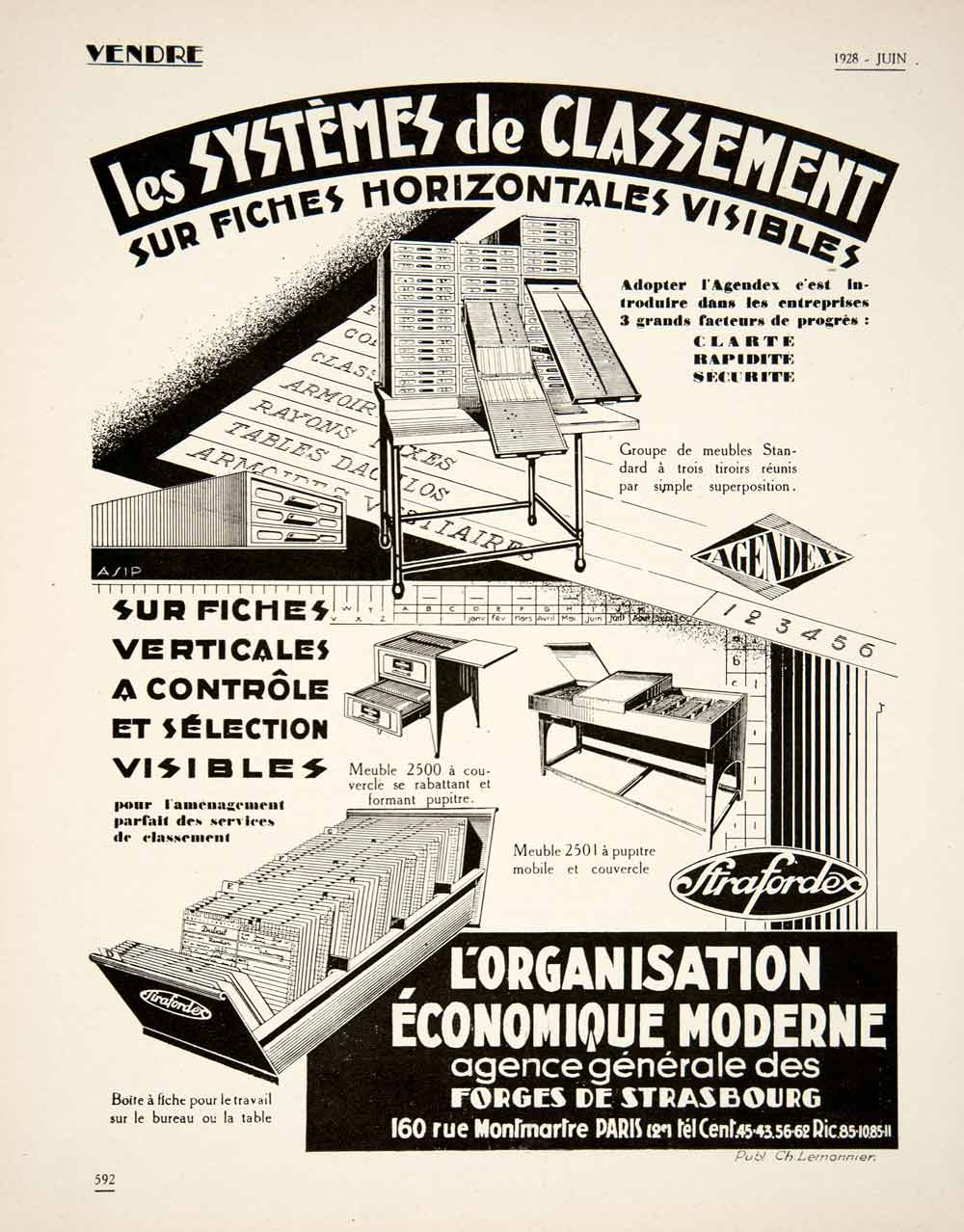 1928 Ad French Visible Files Business Office Card Filing System Equipment VEN5