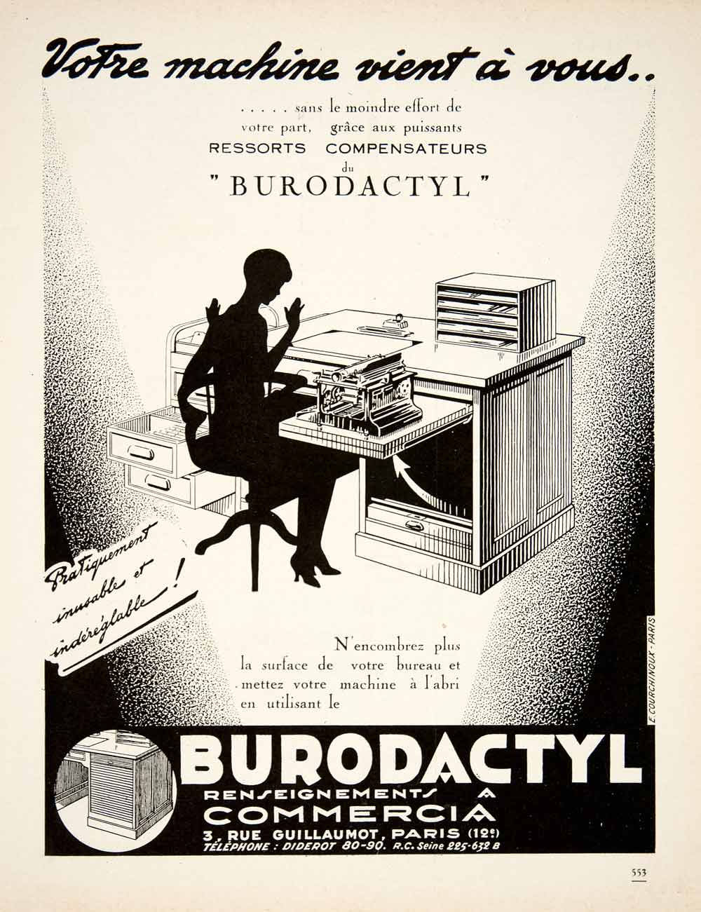 Excellent 1928 Ad Vintage French Burodactyl Typewriter Desk Business Office Secretary Ven5 Download Free Architecture Designs Embacsunscenecom