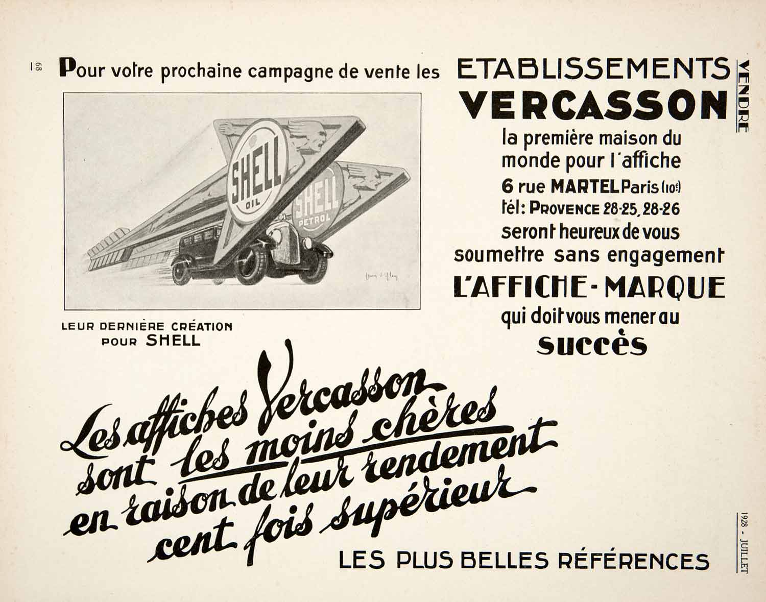 1928 Ad Agency French Etablissements Vercasson 6 Rue Martel Paris Shell Oil VEN5