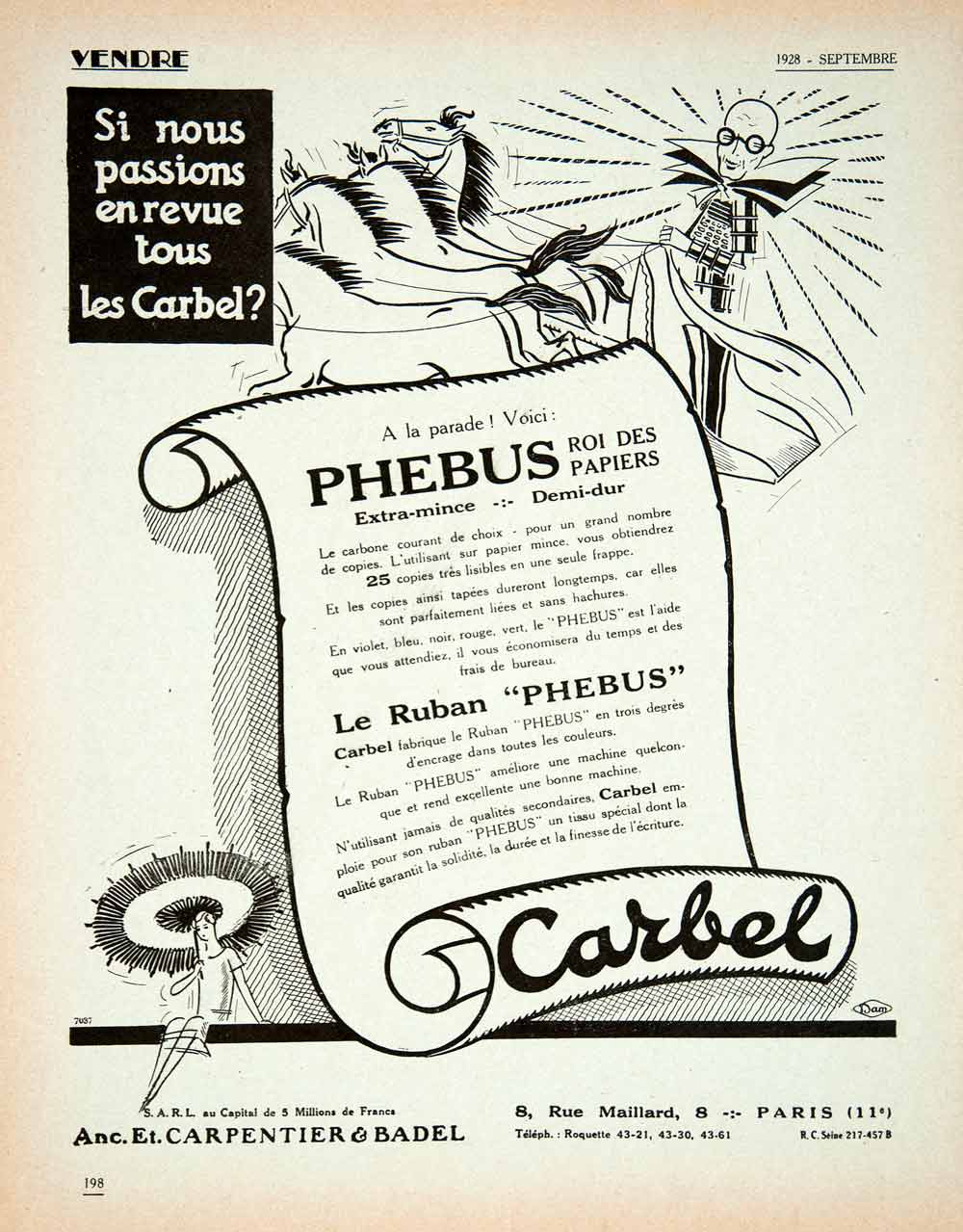 1928 Lithograph Ad French Carbel Phebus Typewriter Ribbon Carpentier Badel VEN5