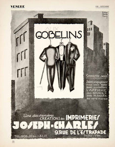 1928 Ad French Advertising Poster Gobelins Imprimeries Joseph-Charles Paris VEN5