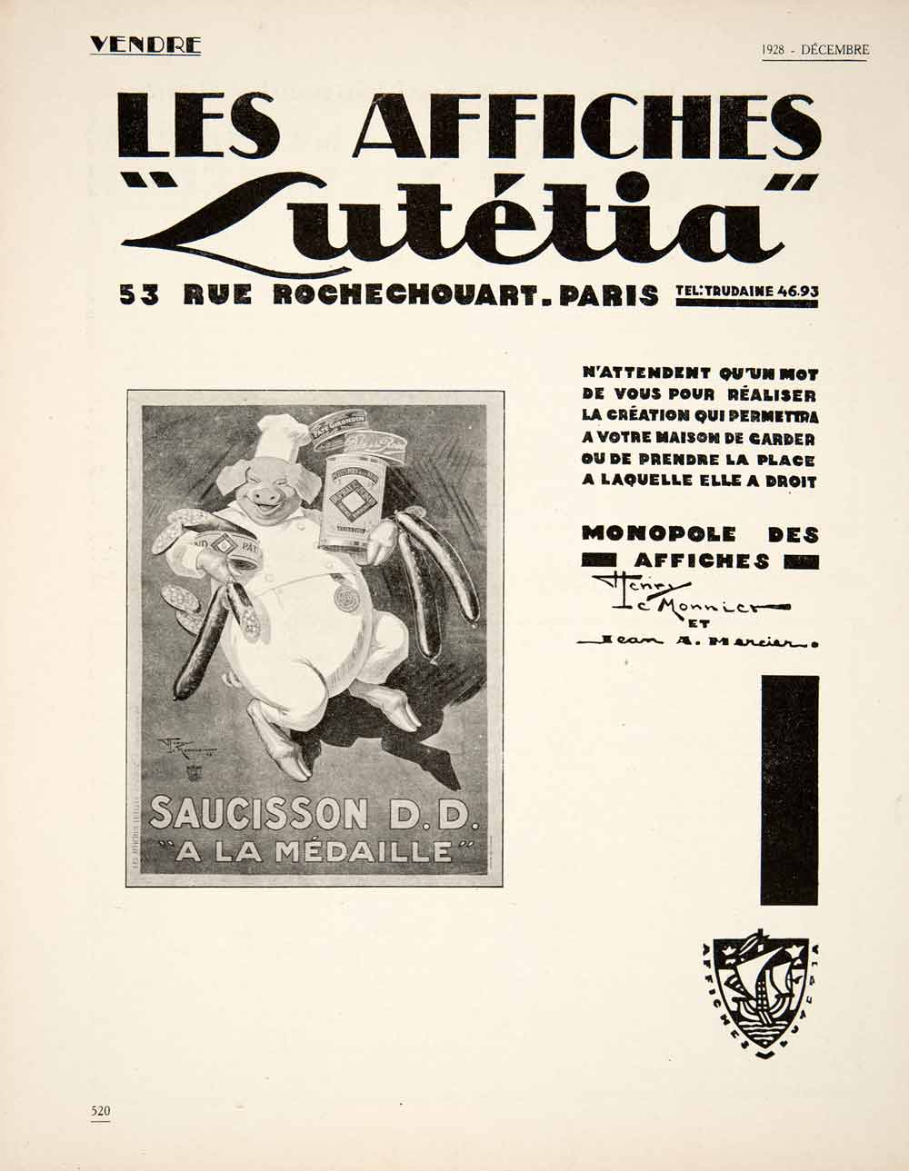 1928 Ad French Advertising Agency Les Affiches Lutetia Pig Saucisson Pork VEN5