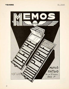 1929 Ad Art Deco French Memos Artdo Business Office Card Filing System VEN5