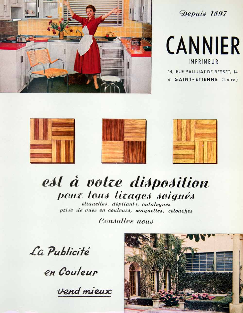 1956 Ad Cannier Color Advertising Printing French Retouching Colour Kitchen VEN6