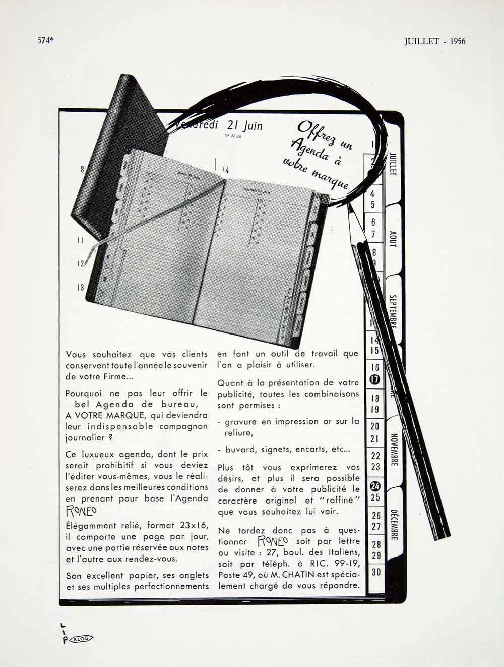 1956 Ad Roneo Shedule Agenda Chantin French Pencil Jotter Office Supply VEN6