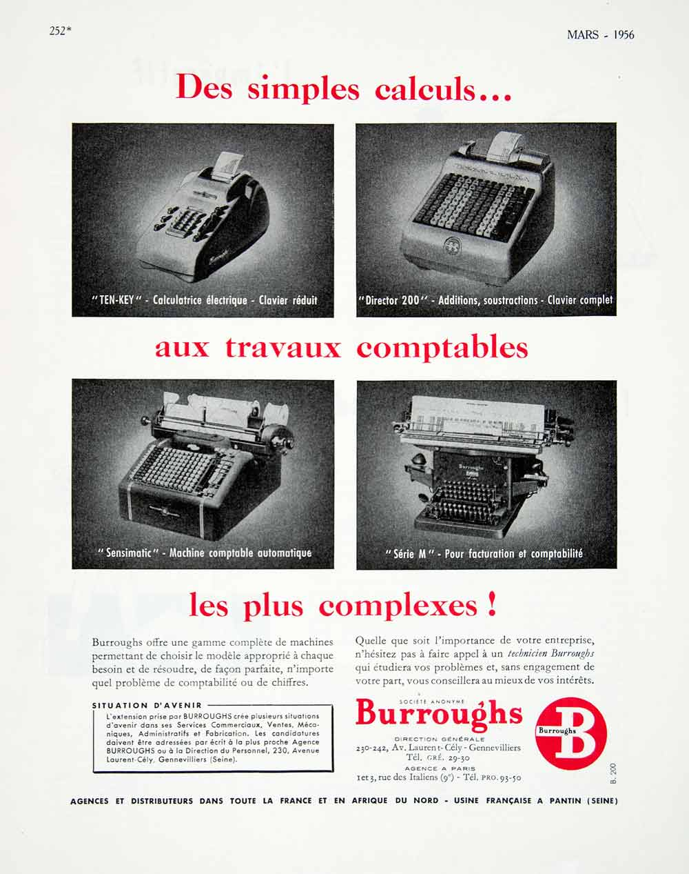 1956 Ad Burroughs Calculating Machines French Vintage Sensimatic Director VEN6