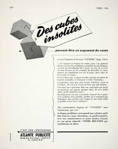 1956 Ad Atlants Publicite Vendre French Advertising Vintage Cubes Selling VEN6