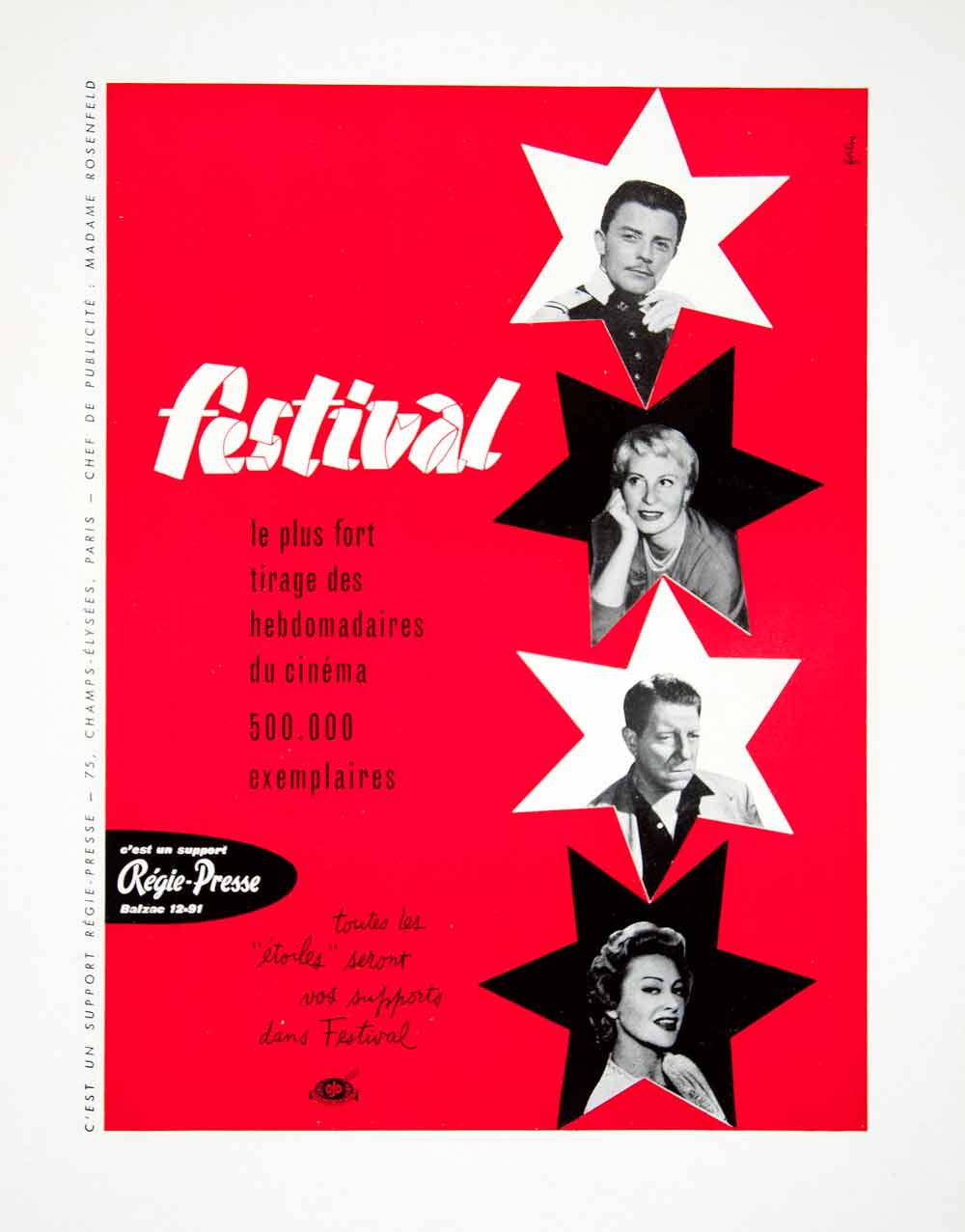1956 Ad Festival Cinema Advertisement French Stars Fortin Advertising VEN6