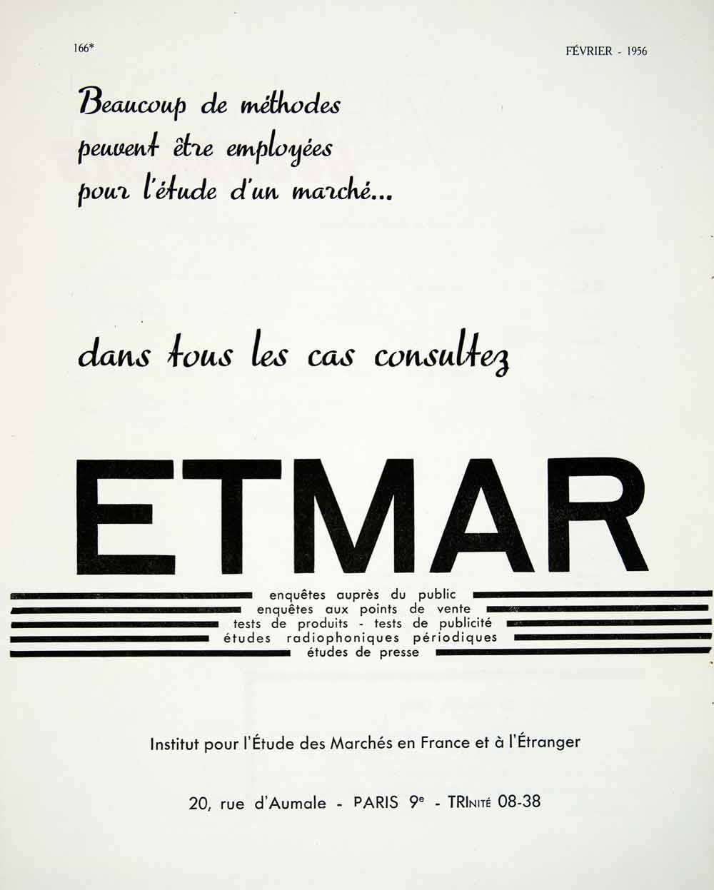1956 Ad Etmar Institute 20 Rue Aumale French Marketing Studies VEN6