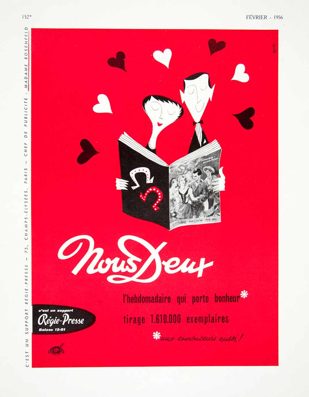 1956 Ad Nous Deux French Lover Romance Heart Red Publication Regie-Presse VEN6
