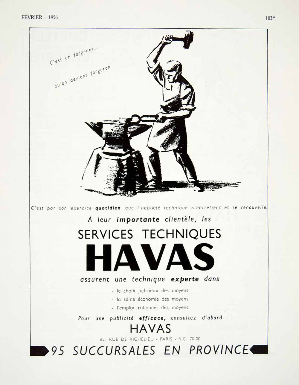 1956 Ad Havas French Agency Blacksmith Metalworker Anvil Tongs Hammer VEN6