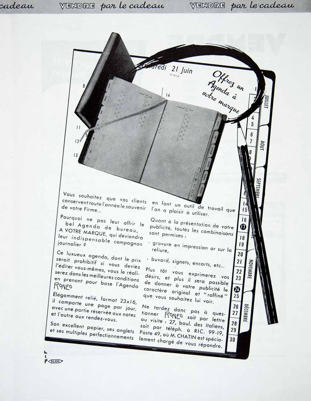1956 Ad Agenda Branded Gift French Roneo Office Supplies Day Planner Pencil VEN6