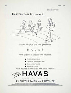 1956 Ad Havas French Advertising Agency Race Runners Running Firm Marketing VEN6