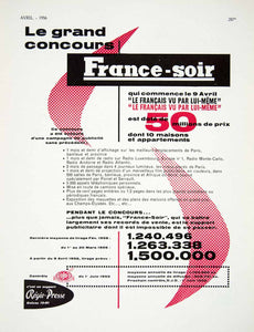 1956 Ad France-Soir French Newspaper Regie-Presse OJD Circulation Contest VEN6