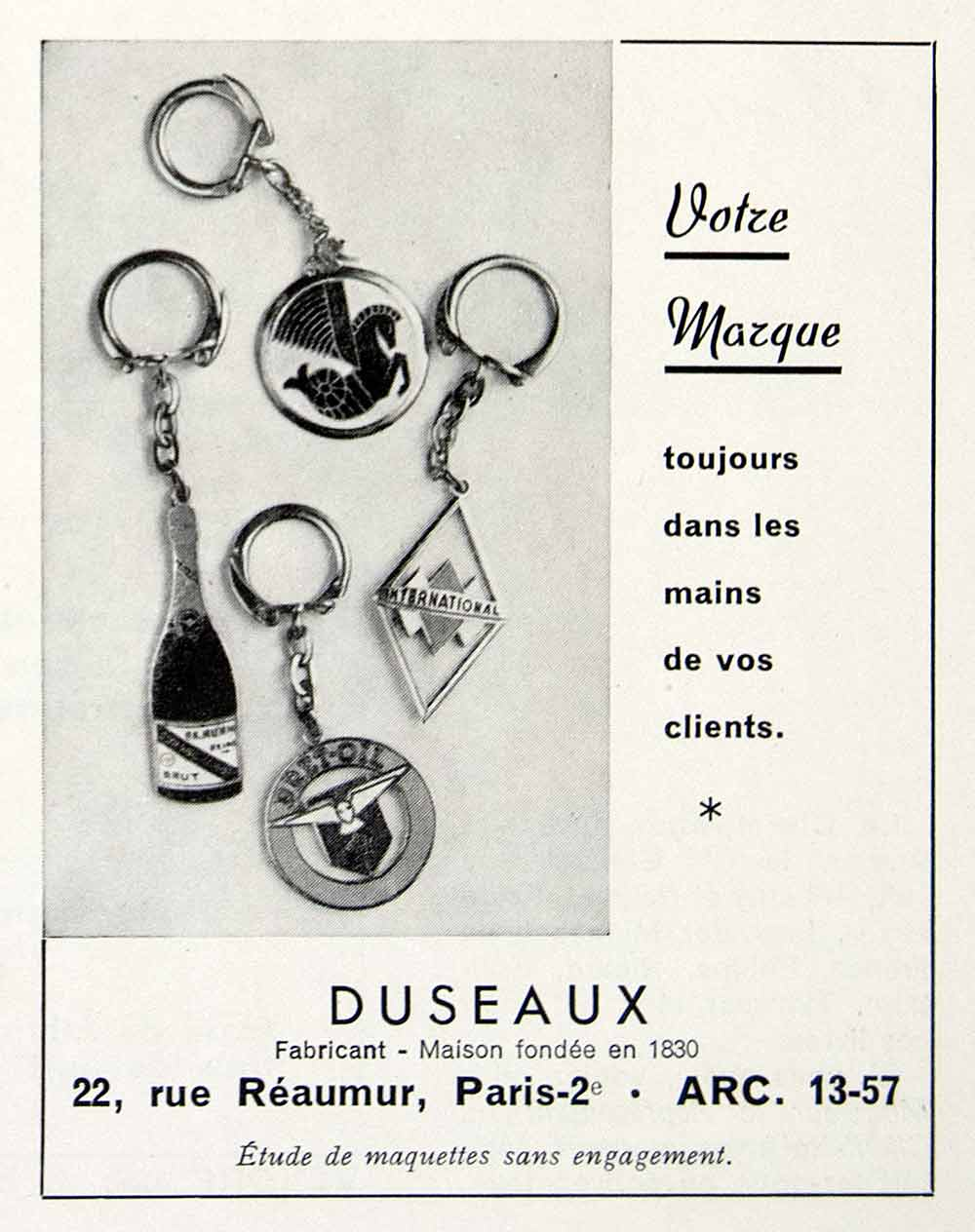 1956 Ad Duseaux Keychain Gift Business French Fifties Gifts Brand Trinket VEN6