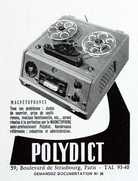 1956 Ad Polydict Tape Recorder Magnetophone French Fifties Technology Period Paper