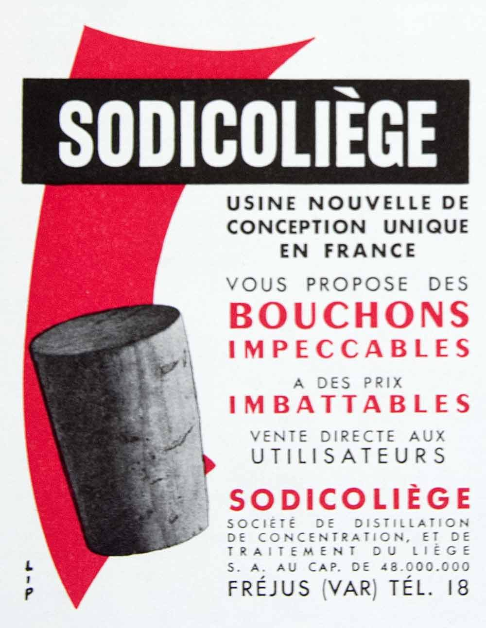 1956 Ad Sodicoliege Corks French Bouchons Red Frejus Vendor Distillers VEN6