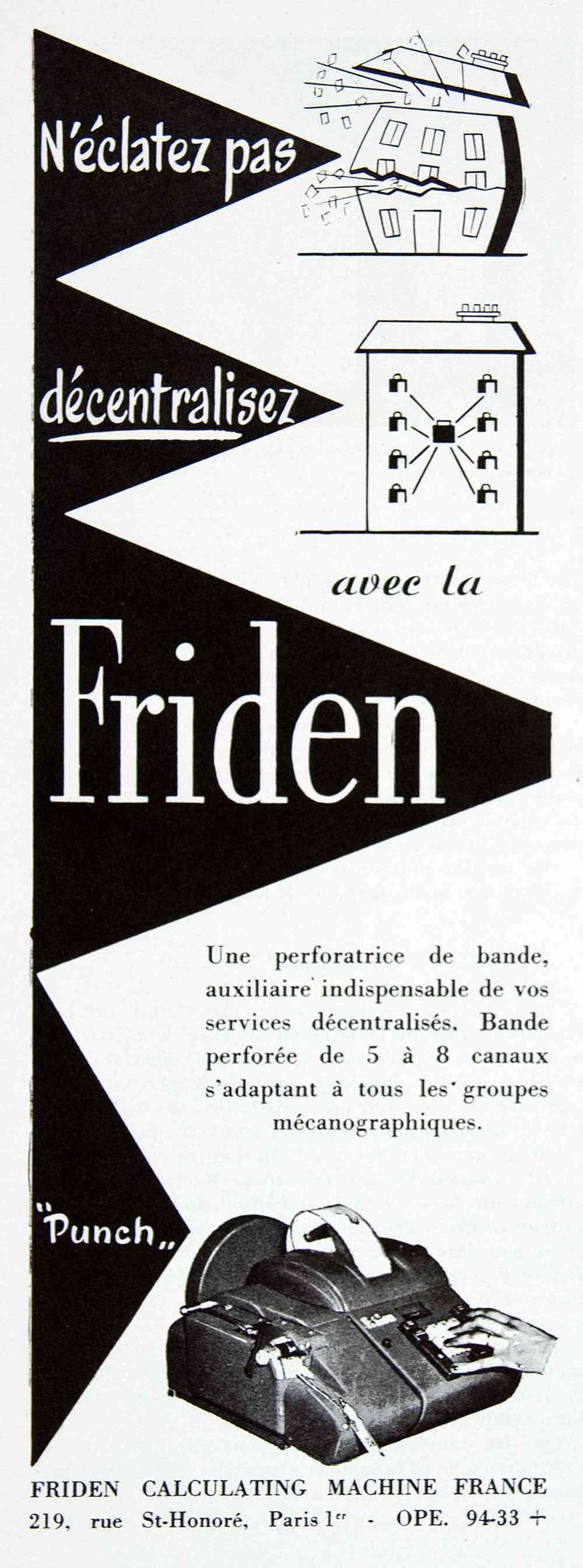 1956 Ad Friden Calculating Machine France French Fifties Technology Device VEN6