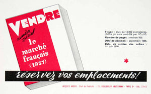 1956 Ad Vendre Special Edition French Advertising Marketing Sales VEN6