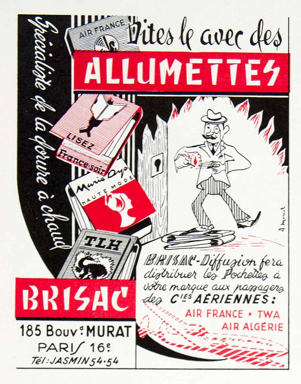 1956 Ad Matches Marketing Branding Brisac Murat Matchbook France-Soir VEN6