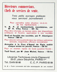 1956 Ad Librairies Techniques Vitry Alamigeon Jean Michel Financial Fiscal VEN6