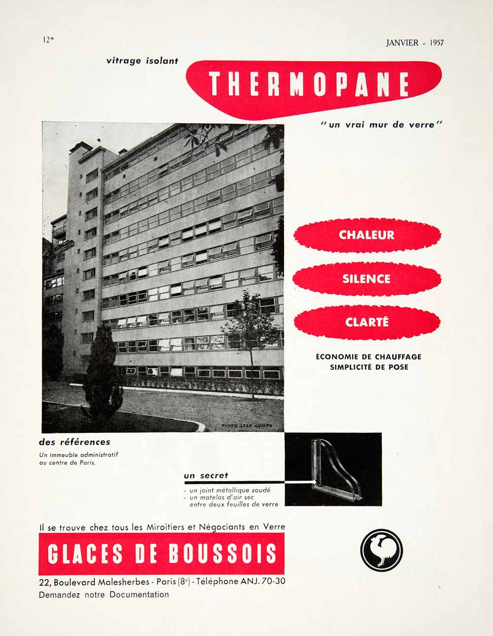 1957 Ad Thermopane Double-Glazed Window Boussois Glass 22 Bld Malesherbes VEN7