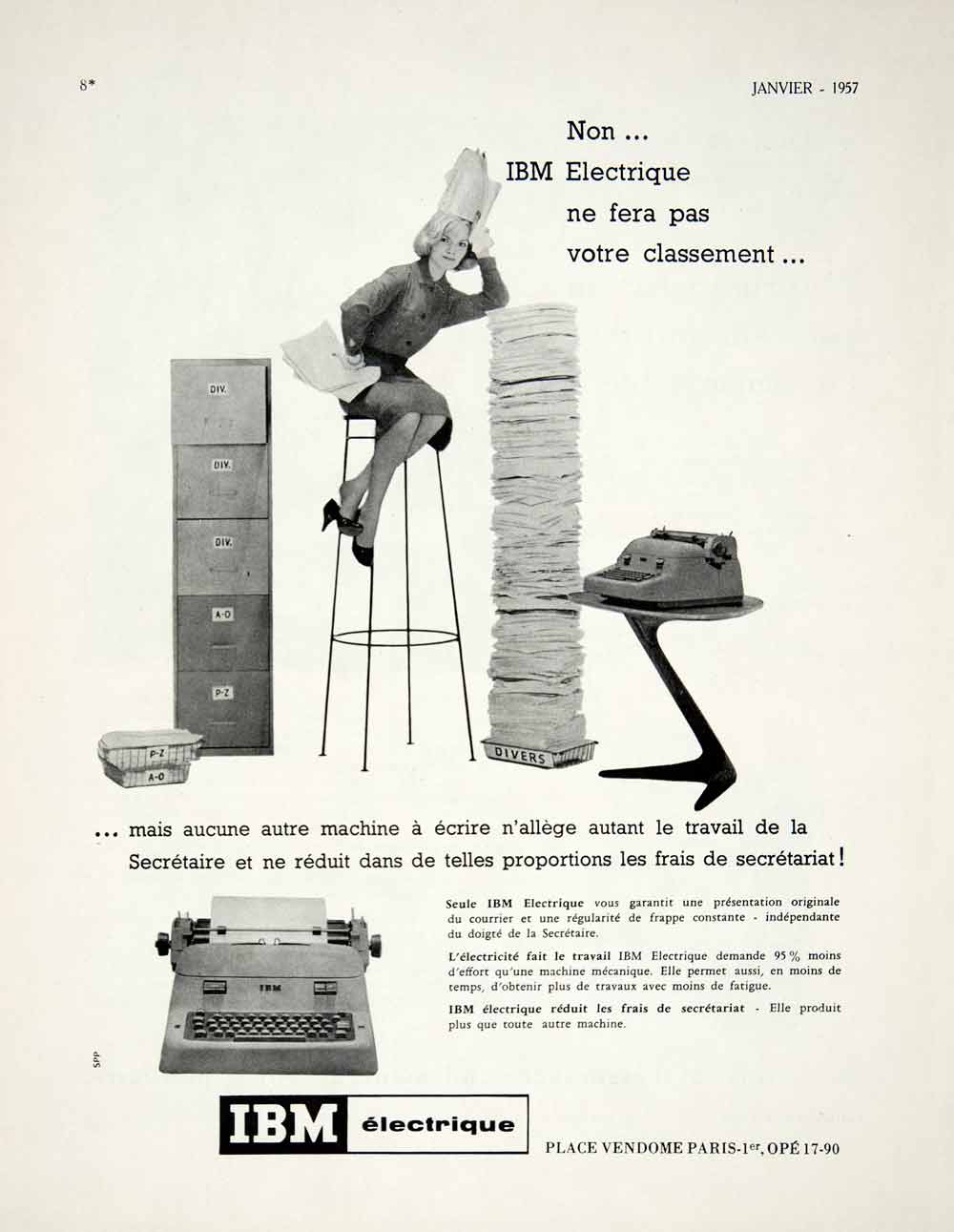 1957 Ad IBM Electric Typewriter French Filing Place Vendome Paris Secretary VEN7