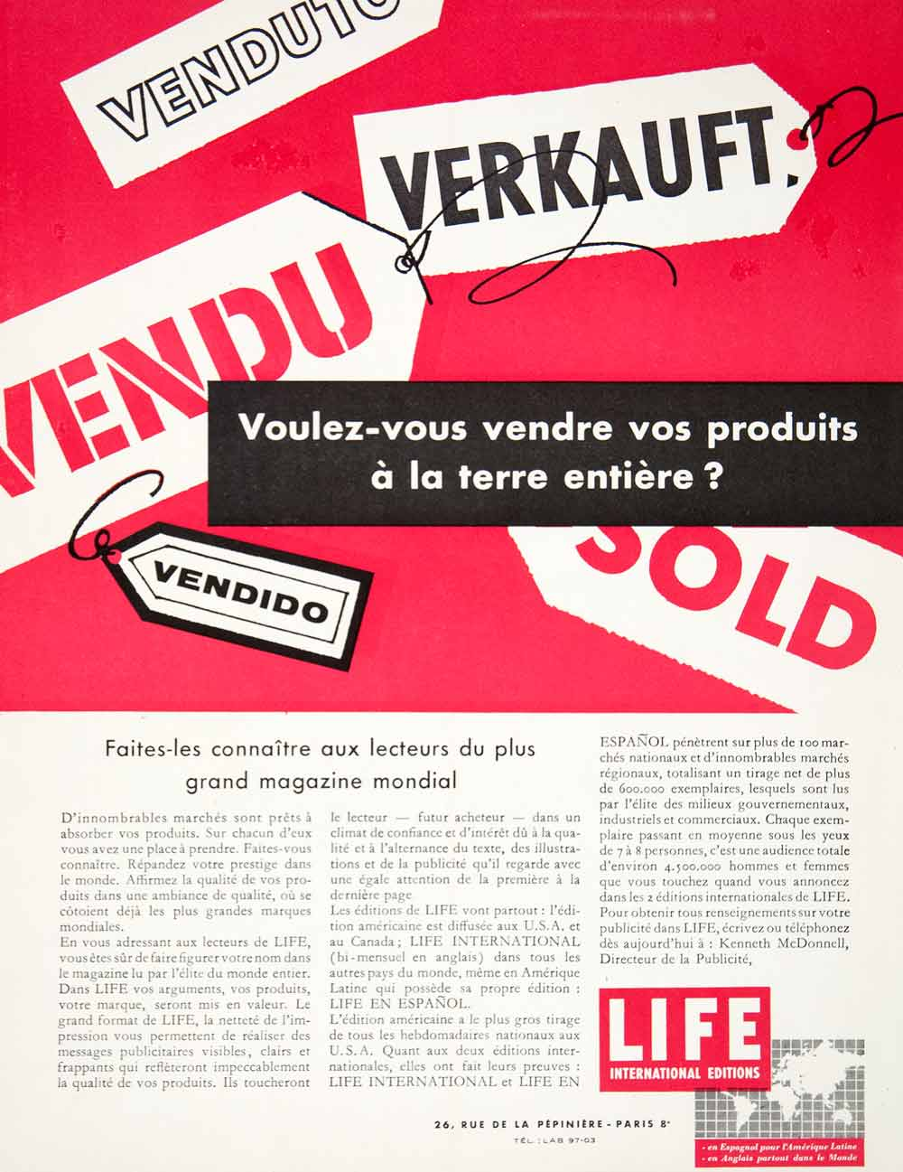 1957 Ad LIFE 26 Rue Pepiniere Paris Advertising International Publication VEN7