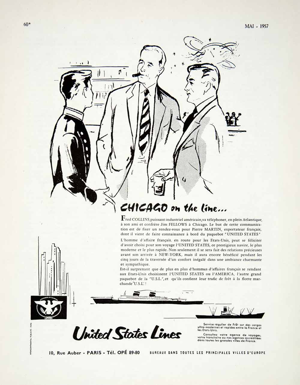 1957 Advert United States Lines 10 Rue Auber Paris USL Steamboat VEN7