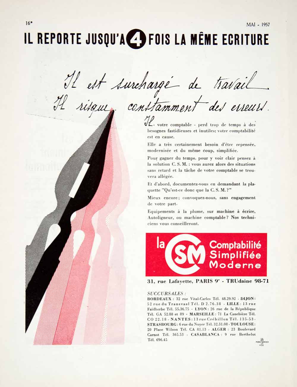 1957 Ad Comptabilite Simplifiee Moderne 31 Rue Lafayette Paris Accounting VEN7