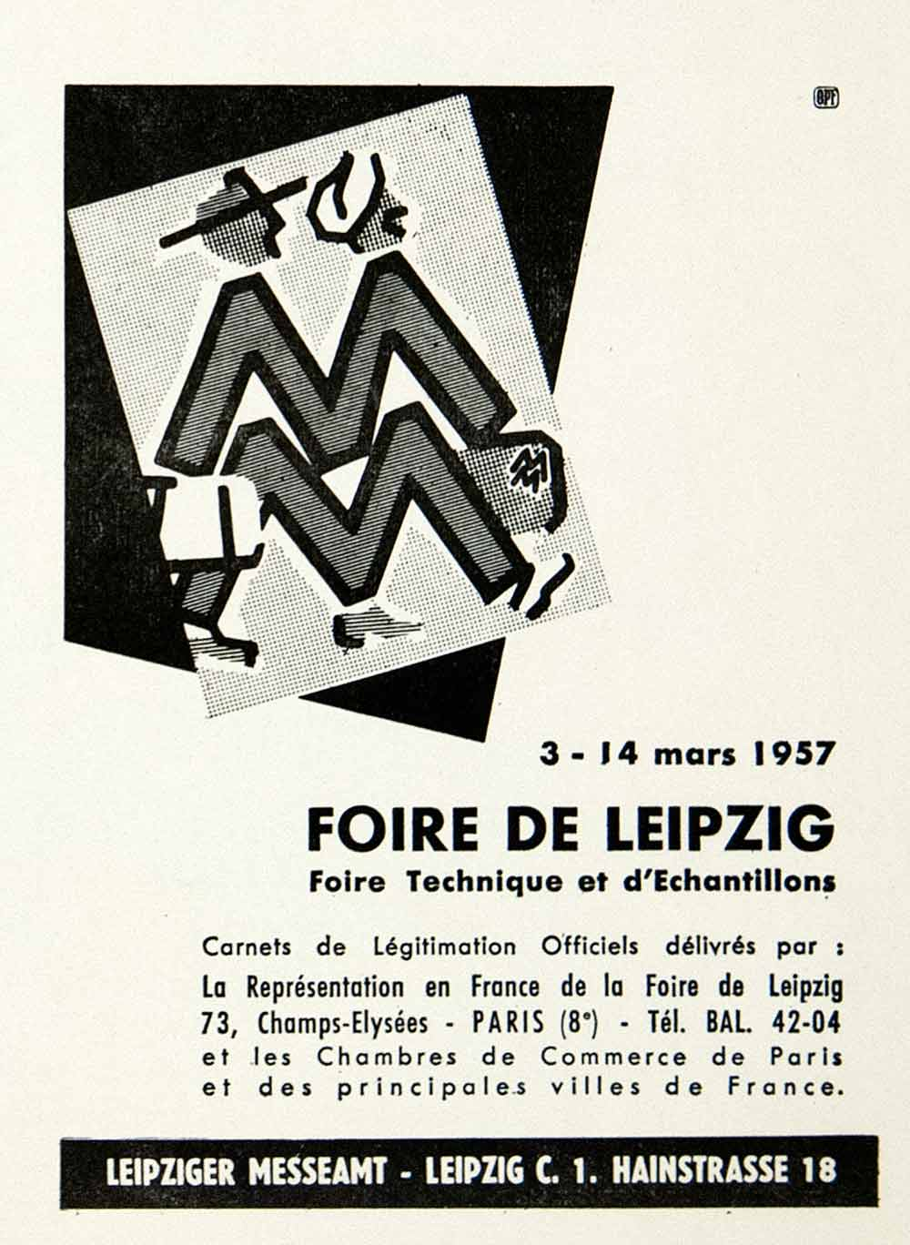 1957 Ad Foire Leipzig Fair Germany MM Logo Messeamt Chamber Commerce Marque VEN7
