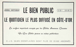 1957 Ad Newspaper Bien Public French Advertising Publication French Cote VEN7