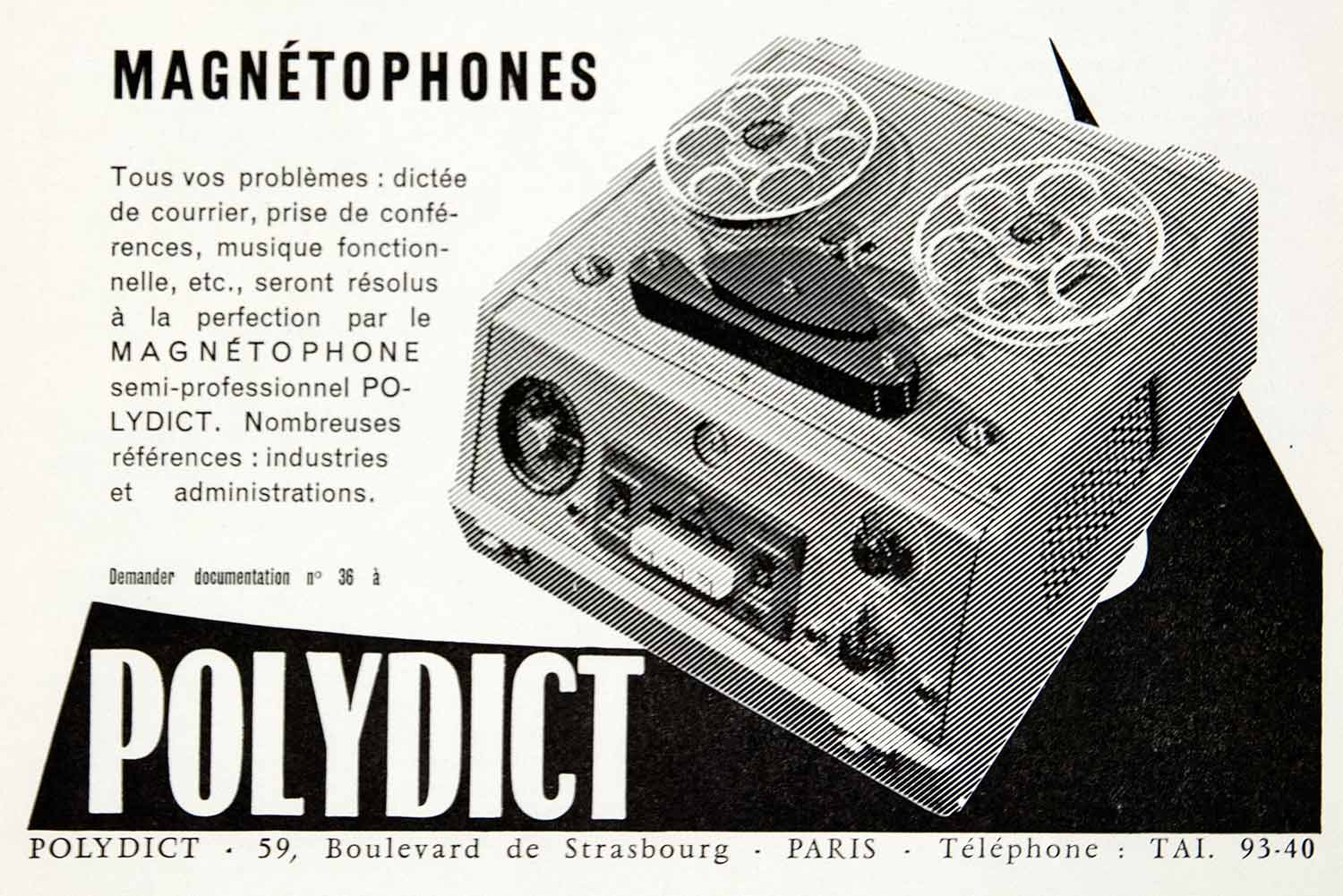 1957 Ad Tape Recorder Magnetophone Polydict 59 Boulevard Strasbourg Pa Period Paper